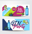 banners with gin bottle shot lime juniper vector image vector image