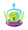 surprised green alien cute cartoon monster vector image