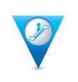 escalator icon map pointer blue vector image