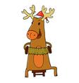 reindeer and Santa hat vector image