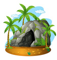 Nature scene with cave and coconut trees vector image