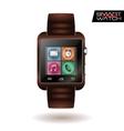 Modern shiny smart watch with leather bracelet app vector image