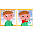 Sick boy in winter vector image