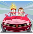 Boy and girl riding vector image