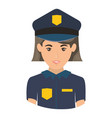 Colorful portrait half body of policewoman vector image