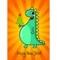 Dragon and Christmas tree vector image