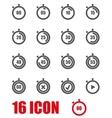 grey stopwatch icon set vector image