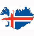 Map of Iceland with national flag vector image