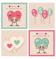 Valentines day Heart Gift Boy Girl Icons Modern vector image
