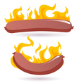hot dog in fire vector image vector image