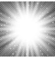 White glowing light burst explosion on transparent vector image
