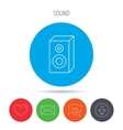 Sound icon Musical speaker sign vector image