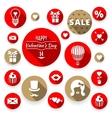 Icons set flat valentines love symbols vector image