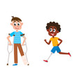 flat disabled men set isolated vector image
