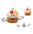 Funny cupcake character with cherry vector image
