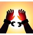 hands with broken chains vector image