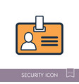 id badge line icon identification card vector image