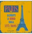 Vintage Touristic Greeting Card - Paris vector image