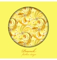 Yellow orange peacock feathers Circle design vector image
