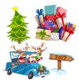 Cartoon Christmas Elements Set vector image