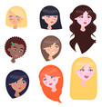 women faces set with long and short hairstyles vector image