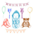 baby newborn toys in hand drawn style isolated vector image