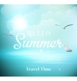 Summer sunny day with views of the sea with vector image