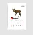 2016 February calendar deer polygon vector image