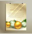 christmas flyer template design with realistic vector image