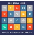 Commercial icons Multicolored square flat buttons vector image
