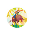 Rodeo Cowboy Bull Riding Pointing Low Polygon vector image