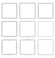 Set of hand drawn decorative square frames and vector image