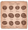 Set of simple zodiac signs with scuffed vector image