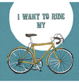 vintage bicycle poster hand drawn blue vector image