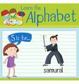 Flashcard letter S is for samurai vector image