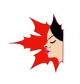 Face of a pretty lady in a maple leaf vector image vector image