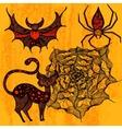 Halloween set with cat bat spider web vector image