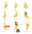cute cartoon humanized banana emoji in different vector image