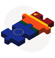 European Union and Sri Lanka Flags vector image