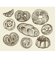 Hand-drawn vintage breads pastries Pie pasty vector image