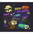 Set of cartoon halloween elements vector image