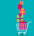 Shopping cart overflowing with colorful gifts vector image