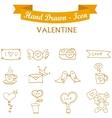 Collection orange icon valentine days vector image