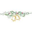 Christmas holly bells vector image