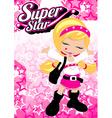 Super star girl on pink star background vector image