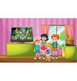 Children watching tv in the room vector image
