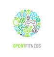 linear sport and fitness logo design template vector image