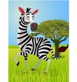 zebra cartoon in the jungle vector image vector image