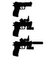 black silhouettes of handguns vector image