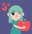 Cute Girld Holding a Giant Apple vector image